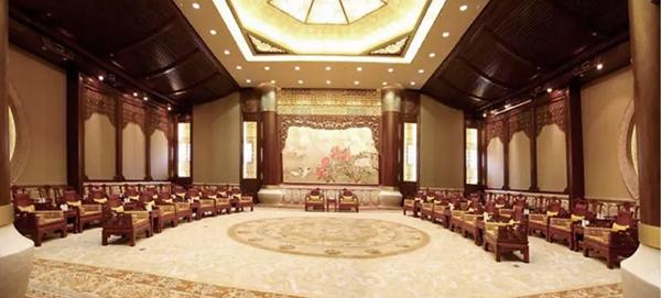 中信红木经典工程代表——无锡灵山梵宫会客厅