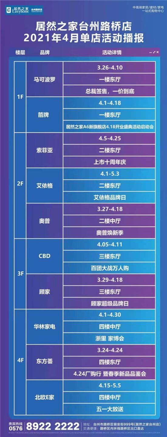 【资讯】居然之家台州路桥店丨2021年4月单店活动播报