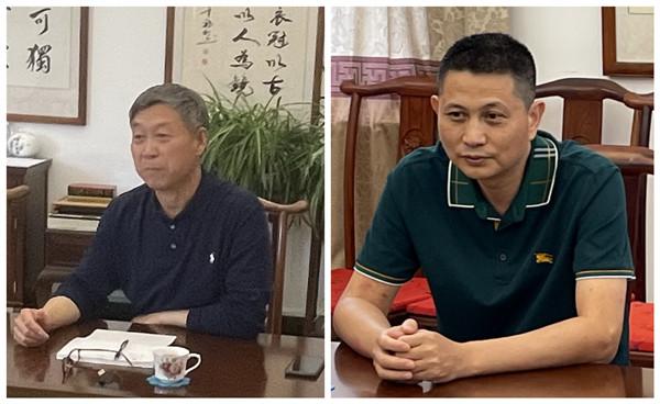巧奪天工紅木董事長張愛冬(左)和紅古軒品牌創始人吳赤宇
