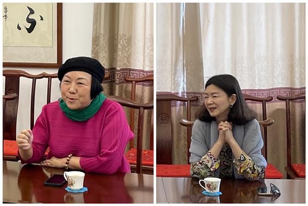 順德職業技術學院設計學院博士、教授劉曉紅(左)和紅古軒營銷總監楊晶
